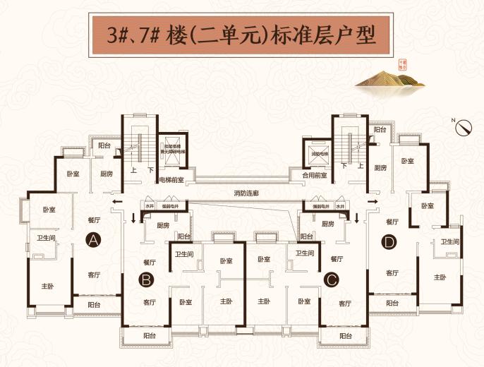 3#、7#楼(二单元)标准层户型D
