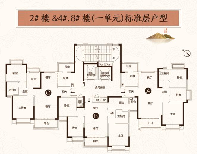 2#\4#\8#楼(一单元)标准层户型C