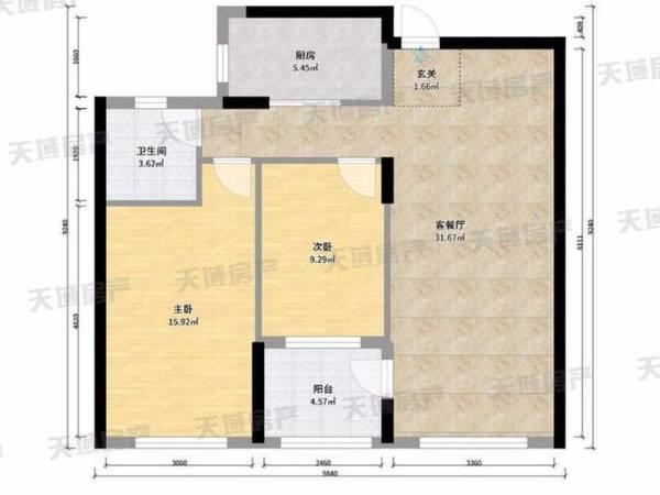 栢景雅居2室2厅1卫精装修