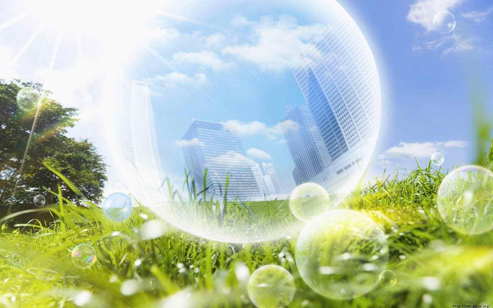 阳光绿色 气泡中的城市建筑